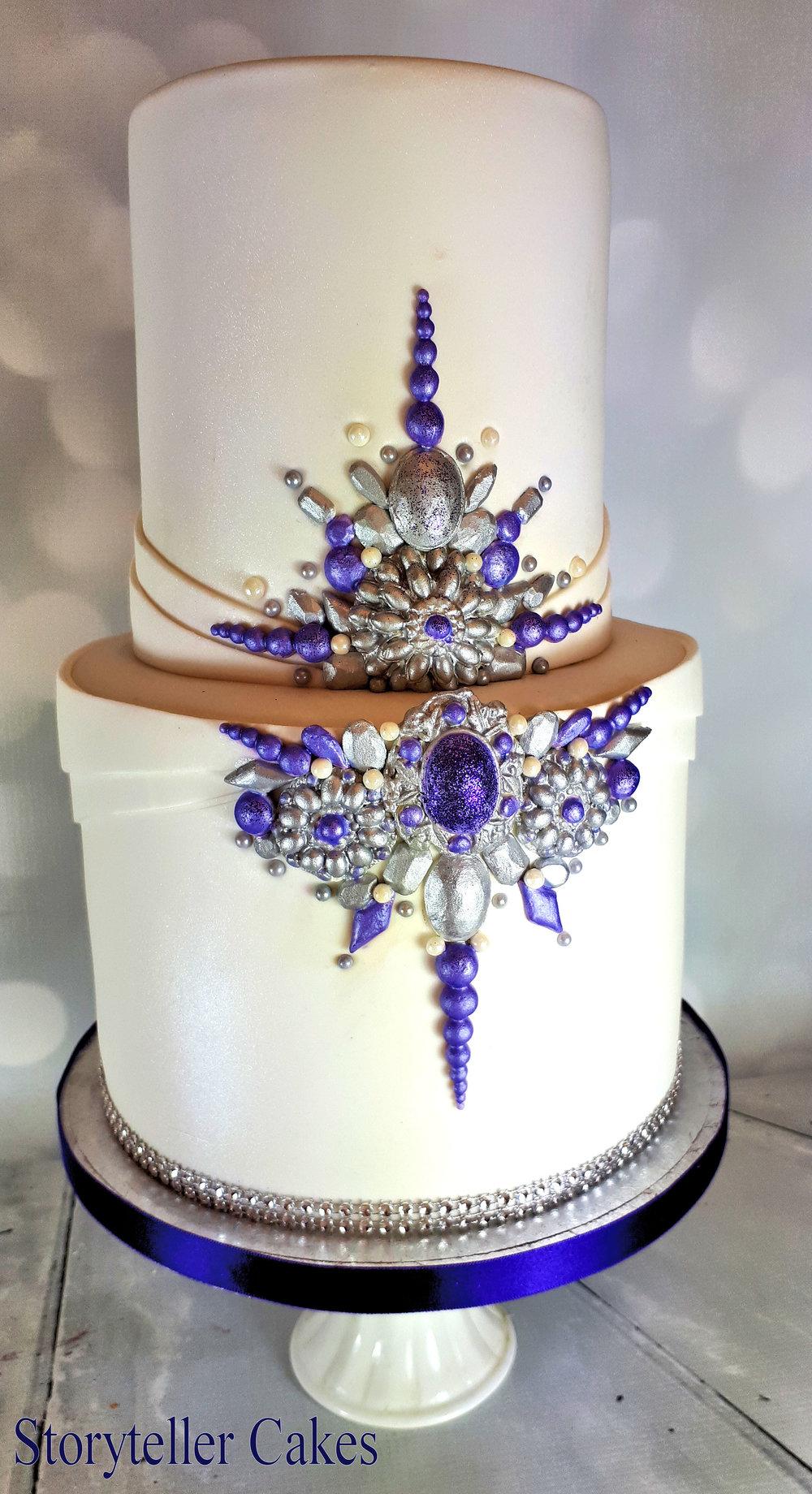 Purple and silver jewel birthday cake 2.jpg