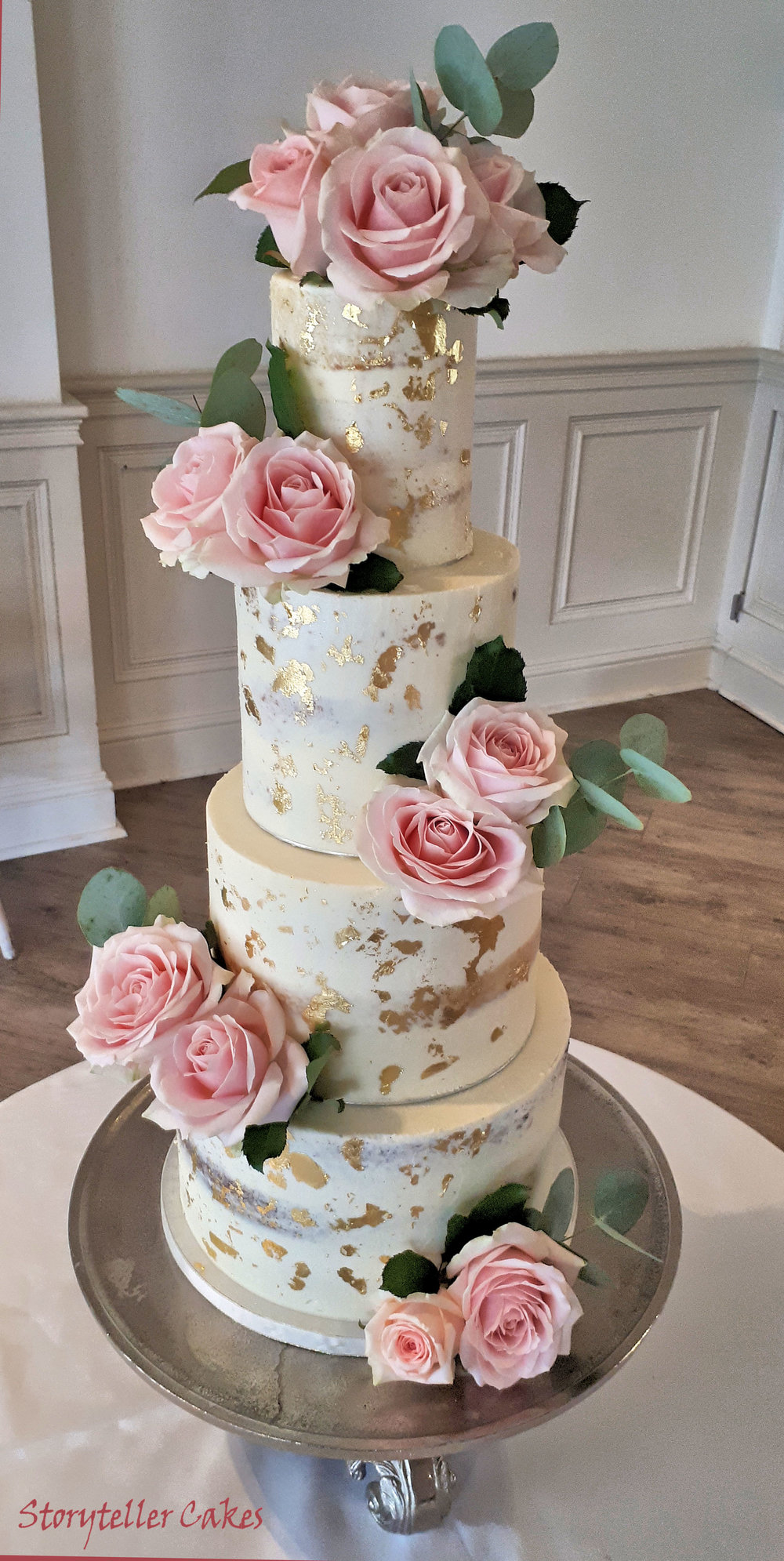Dusky Rose & Gold Semi Naked wedding Cake 3.jpg