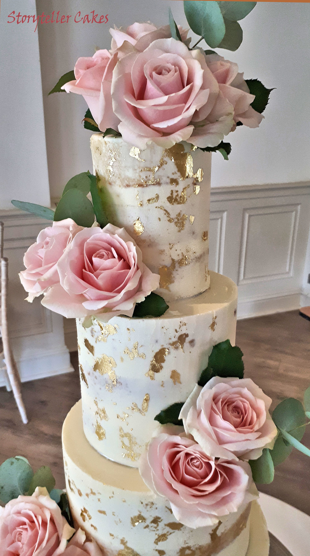 Dusky Rose & Gold Semi Naked wedding Cake.jpg