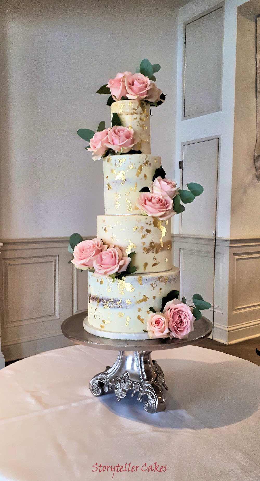 Dusky Rose & Gold Semi Naked wedding Cake 2.jpg
