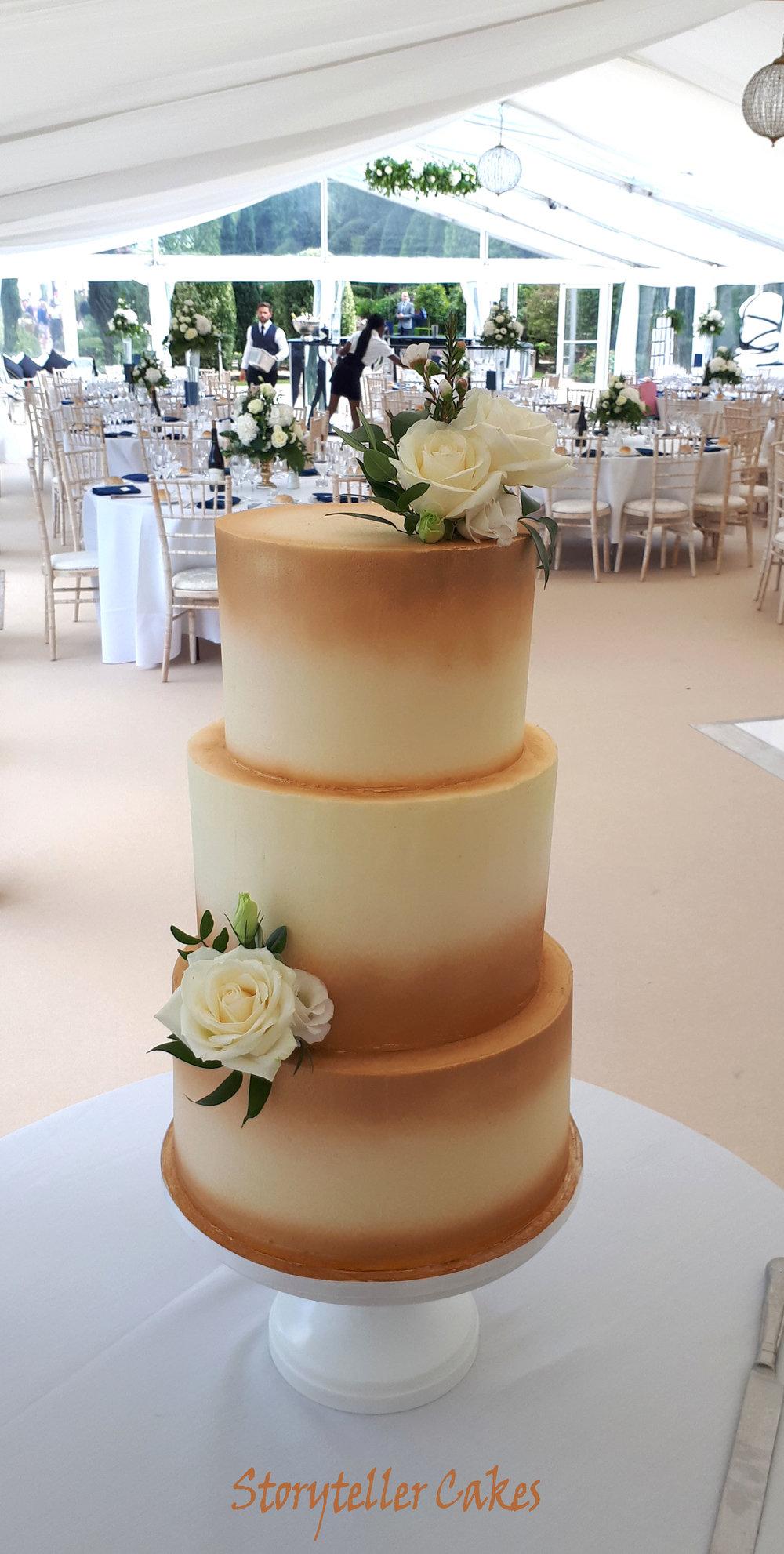 Gold and white buttercream rose wedding cake4.jpg
