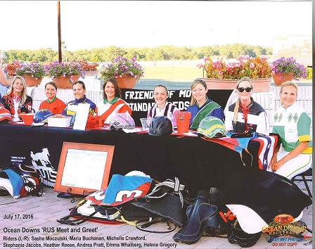 Riders getting ready for a Meet and Greet at Ocean Downs.  Photo  by Best Bet Photos.  Used with permission.