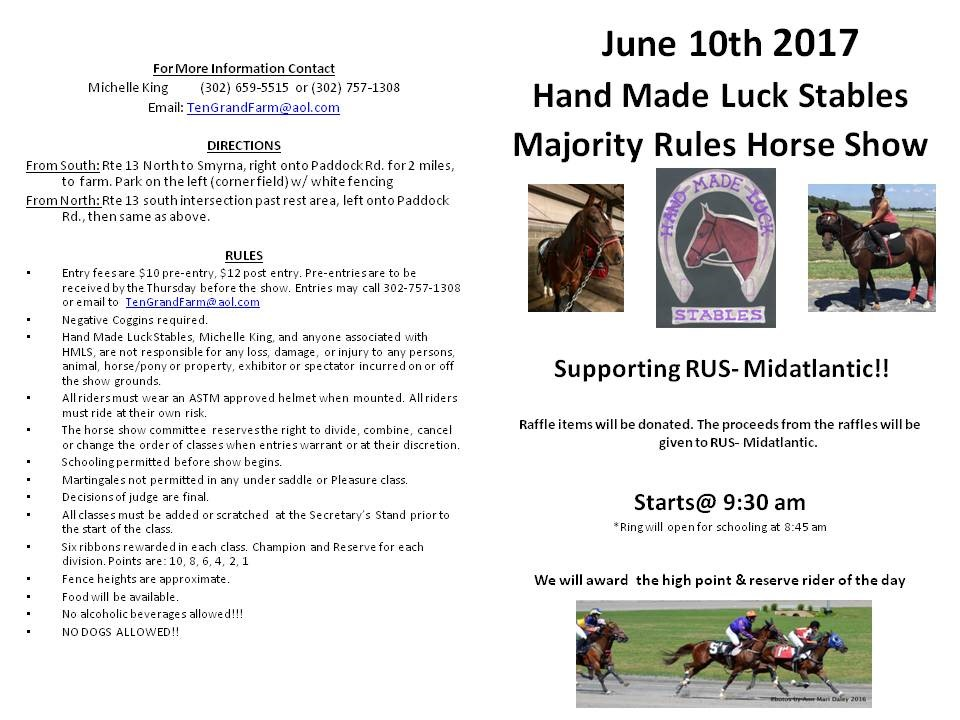 Hand Made Luck Stables horse show rules.