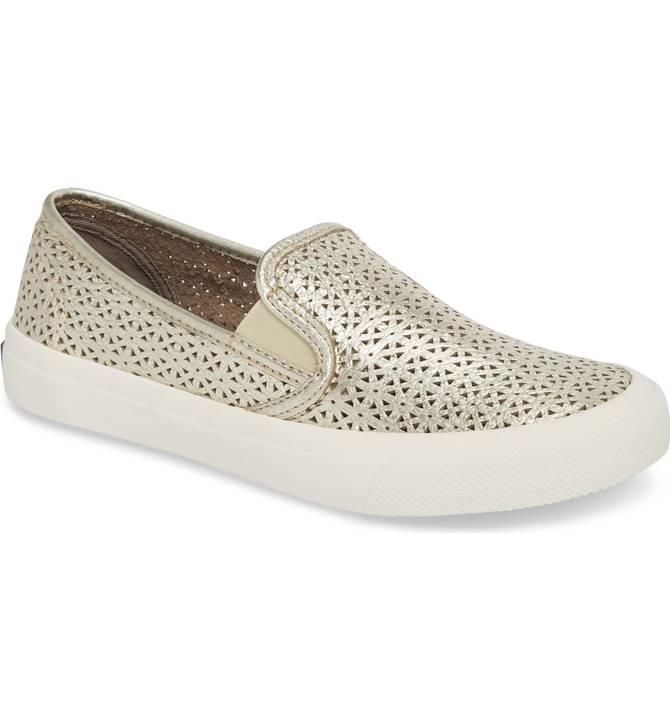 Seaside Nautical Perforated Slip-On Sneaker
