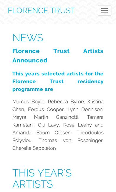 Florence Trust Artist in Residence