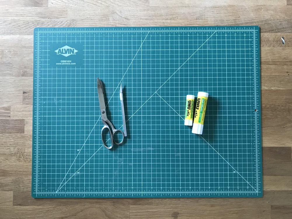 mat board + tools