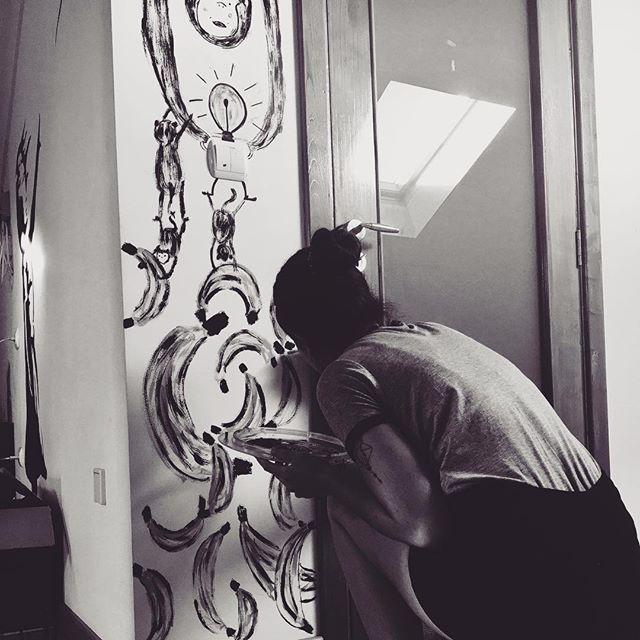 Something I quite enjoy doing is illustrating walls 🍌 #illustration #illutstrator #illustratorsoninstagram #wallart #throwback #monkey #animals #fruit #bananas #ink #paint #acrylic #art #artist #artistic #artistsoninstagram #photography #tattoo #wall #painting #design #creative #instagood #instagram #instadaily #drawdaily #kidlit #kidlitart