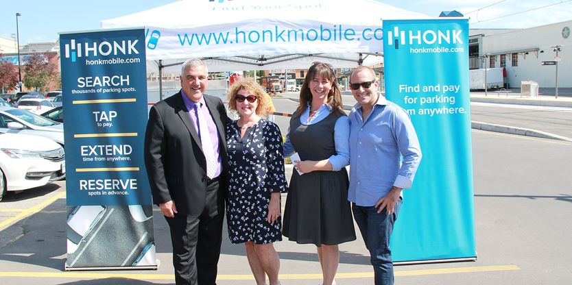 Michael alongside Mayor Dave Jaworsky, BIA president Patti Brooks and Coun. Melissa Durrel at the official launch of Honk at City of Waterloo.