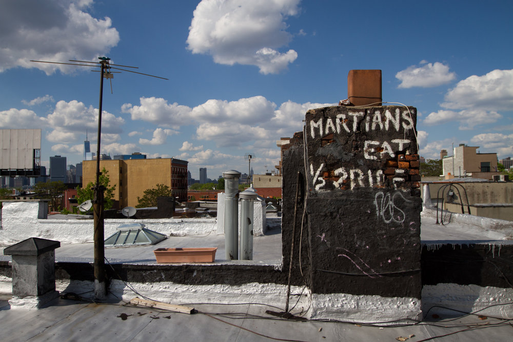 Early Graffiti On Red Hook Rooftop - Brooklyn, New York - 2014