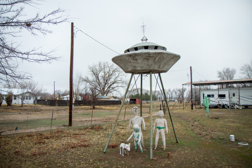 Gene Cockrell's Yard Art Flying Saucer and Aliens - Canadian, Texas - 2012