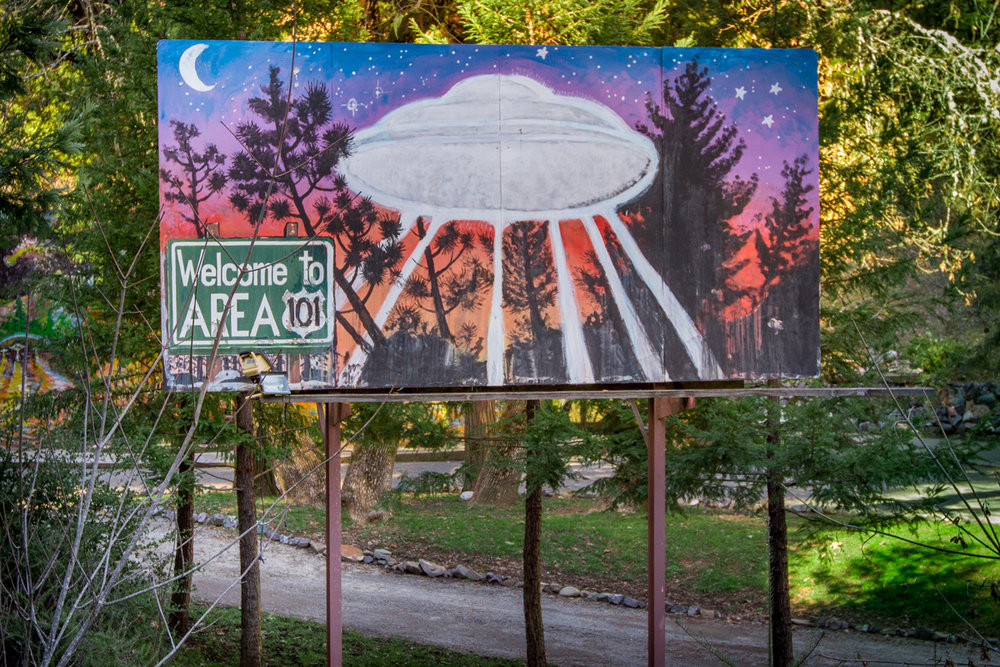 Folk Art UFO Billboard at Area 101 -  Laytonville, California - 2013