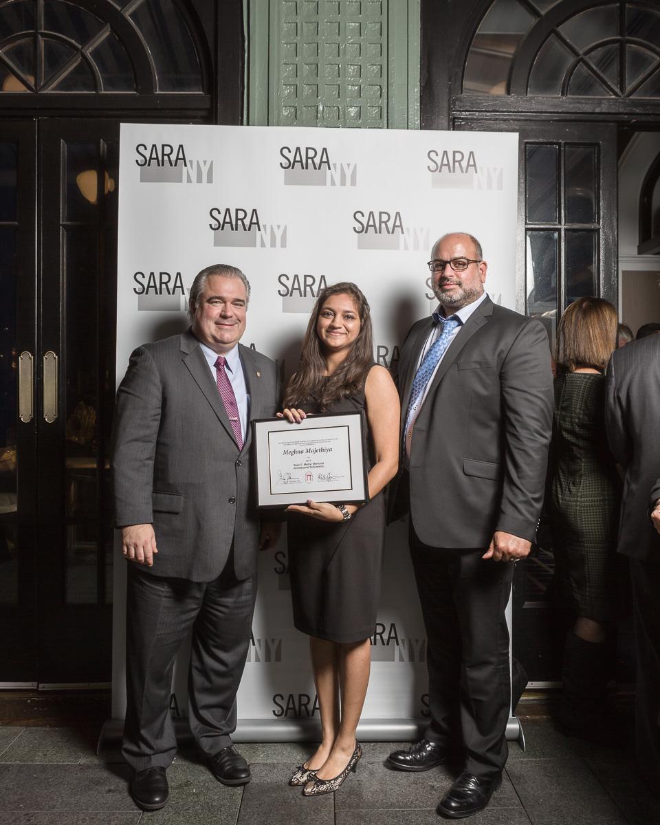 Scholarship winner, Meghna Majethiya, with Frank A. Szatkowski (left), ARA, President SARA | NY; Asaf Yogev, ARA, Vice President SARA | NY