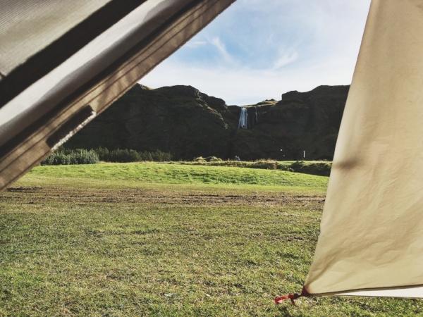 La vue de notre tente un beau matin ensoleillé.