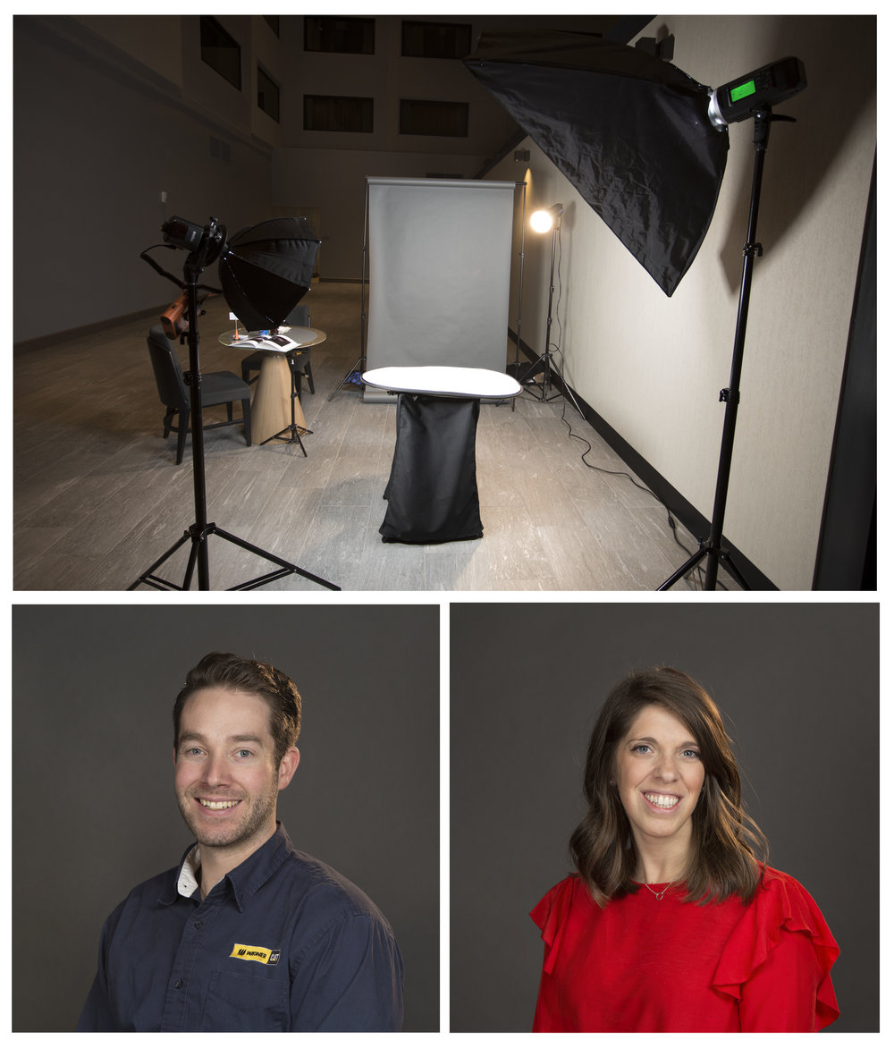 Portable Studio Available! - The portable studio can take a medium to large backdrop and only takes 15-20 minutes to set up. The lighting equipment is mainly powered by Lithium Ion batteries so there are less cords around making it a safer set up.