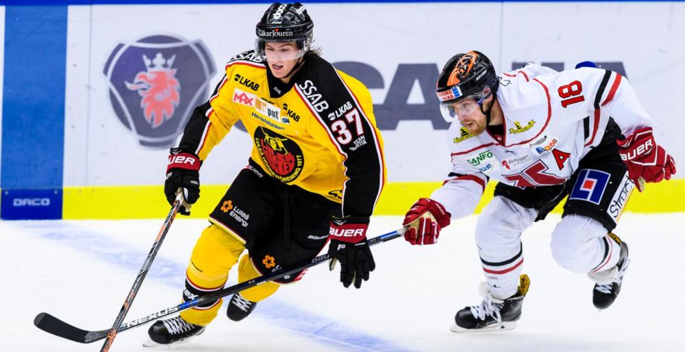 Lundeström (37)evades a defender for Lulea HF. Photo courtesy of NHL.com