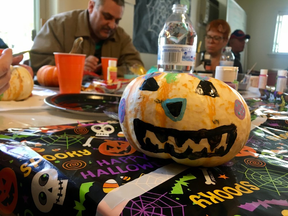 Party attendees decorated pumpkins!