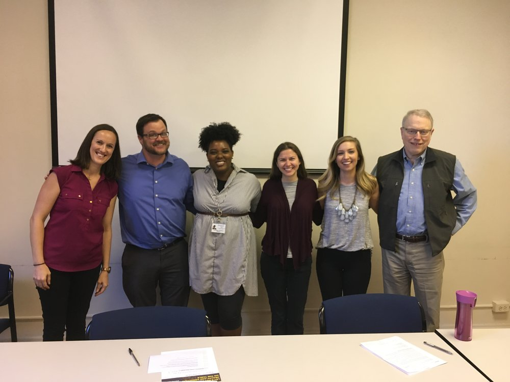 From Left to Right: Kristin Johanns LCSW (Impact), Vince Heneghan LPC (Impact), Toraneka Hampton LPC (Impact), Laura Hilb NP (Connections for the Homeless), Anna Sack (Impact), Dr. Michael Solomon MD. (Impact)