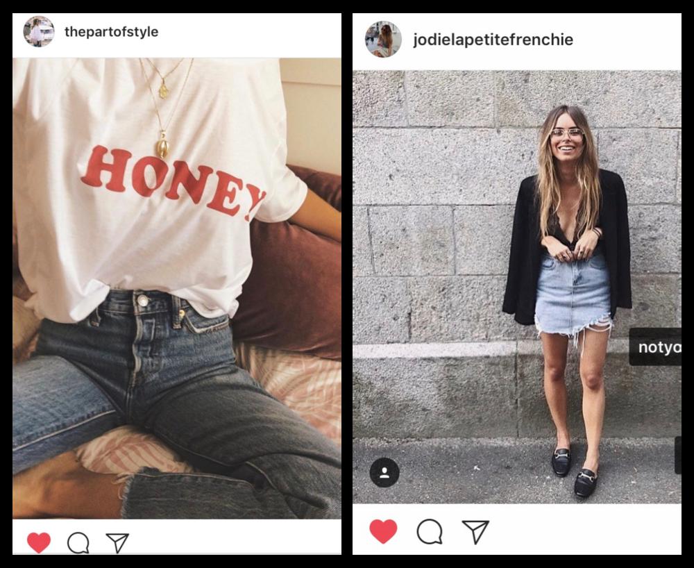"""Saâdia  porte également notre   tee-shirt Honey   mais plus """"à la cool"""" rentrédans un jean mom taille haute.  Jodie  (moi-même ahah), je porte une tenue all black et la   jupe destroy Notyourgirl   afin de casser ce look chic."""