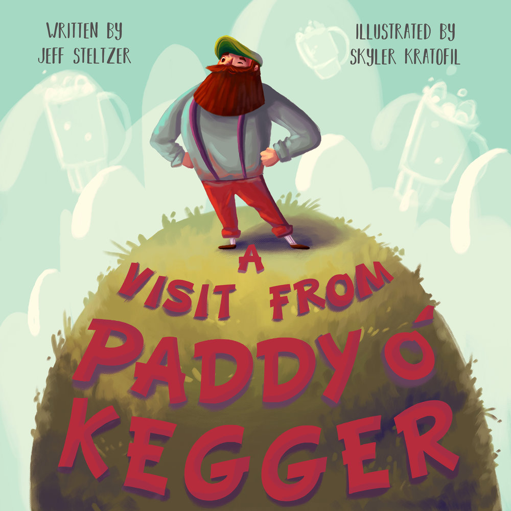 - I wanted the cover to be fun yet dreamy because the book encompasses the exciting yet whimsical visit from Paddy. Paddy is front and center, of course, in a proud and triumphant stance with soft, fluffy beer steins behind him!