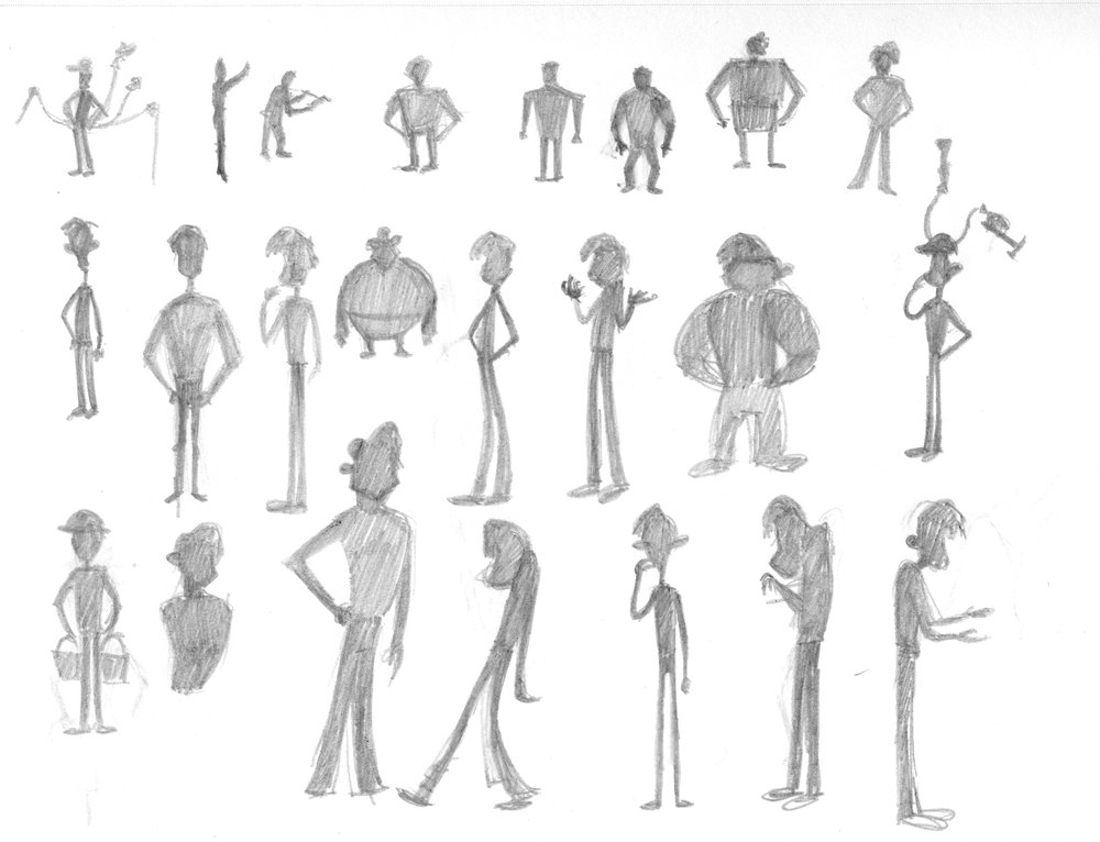 My early sketches of character designs using basic silhouettes to establish shape and movement.