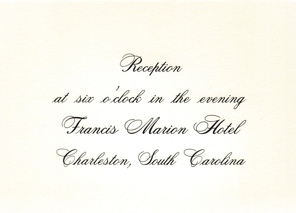 The time is used when there is a two hour or more difference between ceremony and reception. Cited state is used when different from location of ceremony.  TS 5  Black  Sample 3