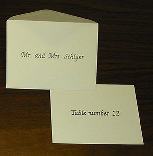 "Option F - Name on Envelope and ""Table Number 1"" (2, 3, ...) on card"