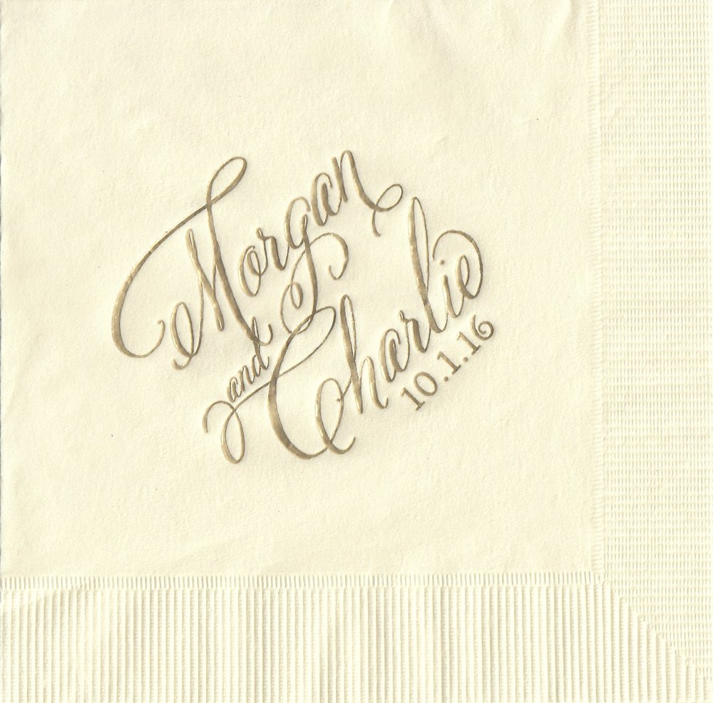 Napkin: Ecru  Imprint: Gold Ink  Beverage  Sample 1