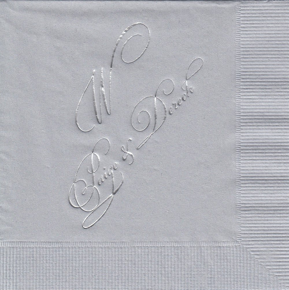 Napkin: Silver  Imprint: Silver Ink  Beverage  Sample 5