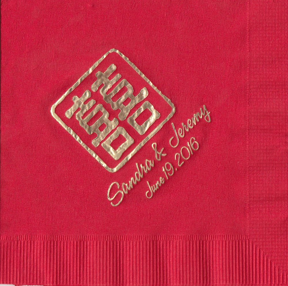 Napkin: Claret  Imprint: Gold Foil  Beverage  Sample 6