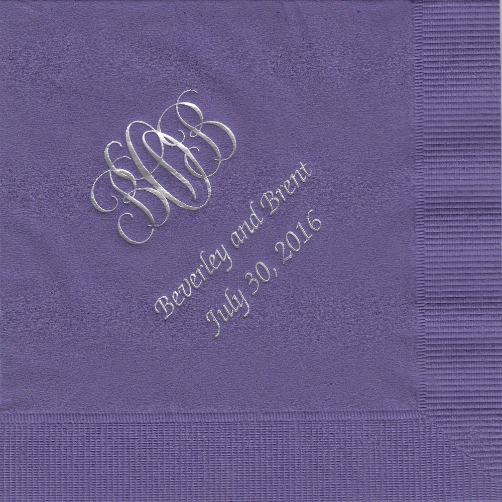 Napkin: Purple  Imprint: Silver Ink  Beverage  Sample 7