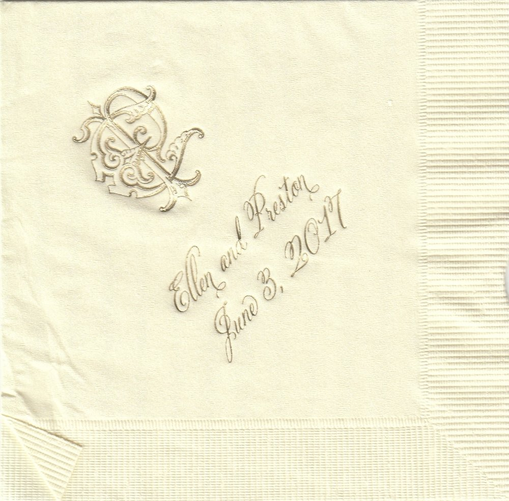 Napkin: Ecru  Imprint: Gold Ink  Beverage  Sample 9