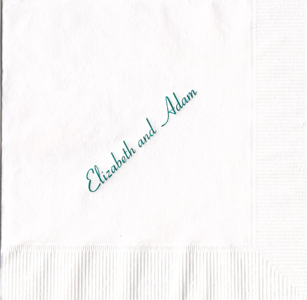 Napkin: White  Imprint: Teal Ink  Beverage  Sample 11