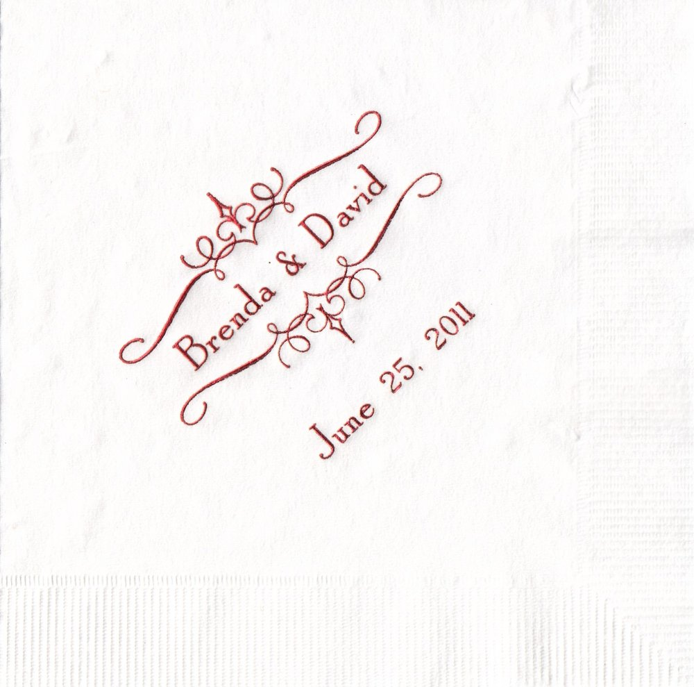 Napkin: White Imprint: Red Ink Beverage Sample 12