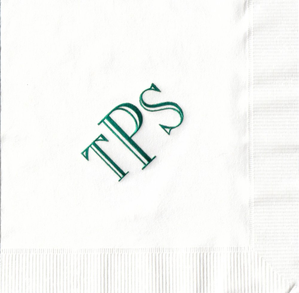 Napkin: White  Imprint: Hunter Ink  Beverage  Sample 16