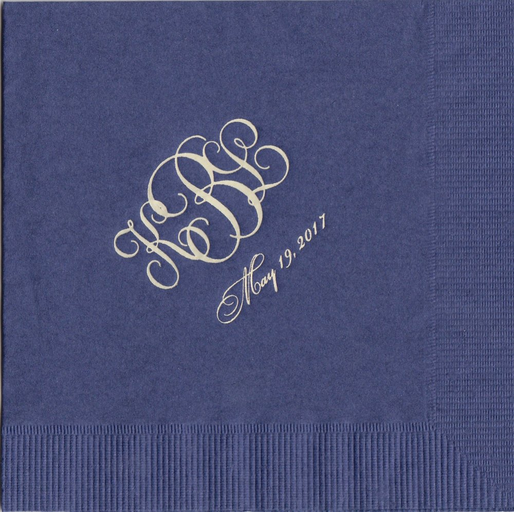 Napkin: Navy  Imprint: Mocha Ink  Beverage  Sample 17