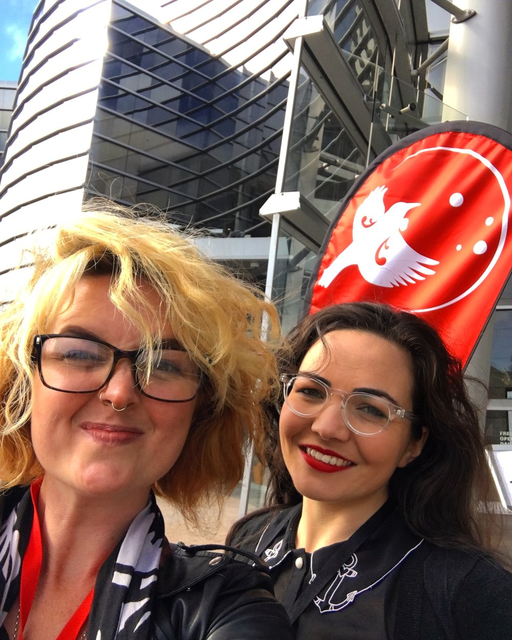 With my sister, and INDHE colleague, Ellen, outside the Christchurch Art Gallery at SEWF 2017