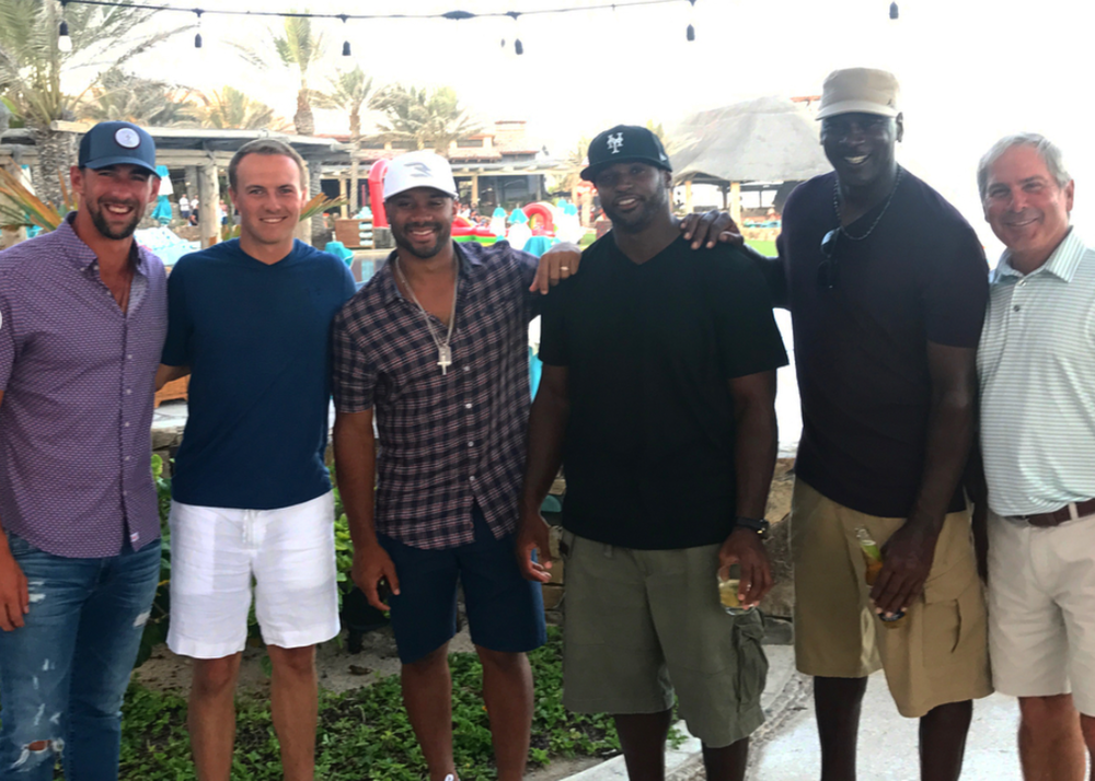 Jordan Spieth in Cabo with Michael Phelps, Russell Wilson, Dwight Freeney, Michael Jordan, and Fred Couples