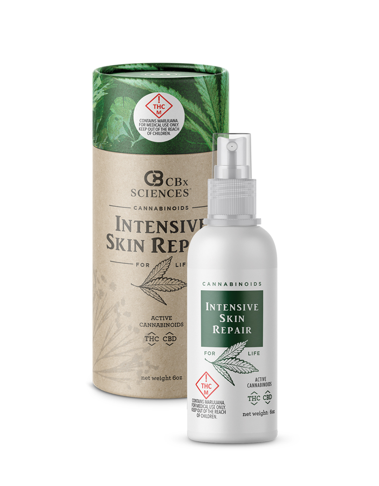 cannabinoids formulated for beautiful skinCarefully selected ingredients, pure cannabinoids and terpenes. - You might not be able to stop time, but you can slow it down to a crawl. And erase the evil things the clock and the sun have done to your skin.Intensive Skin Repair is a rich 1-to-1 formula of THC and CBD. With Vitamin E, camelina oil, rose canina, collagen and terpenes like eucalytpol and terpinolene, blended in for good measure.Like all CBx Sciences products made from Evolab's pure, pharmaceutical-grade cannabis extract, our Intensive Skin Care contains no artificial dyes or coloring. And it's free of parabens, glutens, soy, sulfates, phthalates and all that other junk we would rather do without.Side effects may include spontaneous complements and second glances.
