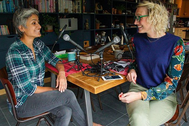 "Season 2 of the @keepitquirkypodcast has begun, and I couldn't be more excited to kick things off with the fabulous @chetnamakan !!! You know her from the Great British Bake Off, where she stole the hearts of all of the UK and henceforth the world (thanks to Netflix 😚). I enjoyed every moment of my conversation with her — one of my favorite episodes yet — in which she talks about her completely unpredictable career path, which spans fashion and food, India and England. She also shares behind-the-scenes stories of @britishbakeoff , marriage advice for me ❤️, and her daughter's theory of the ""3 stomachs"". Link is in my bio, of course 😁"