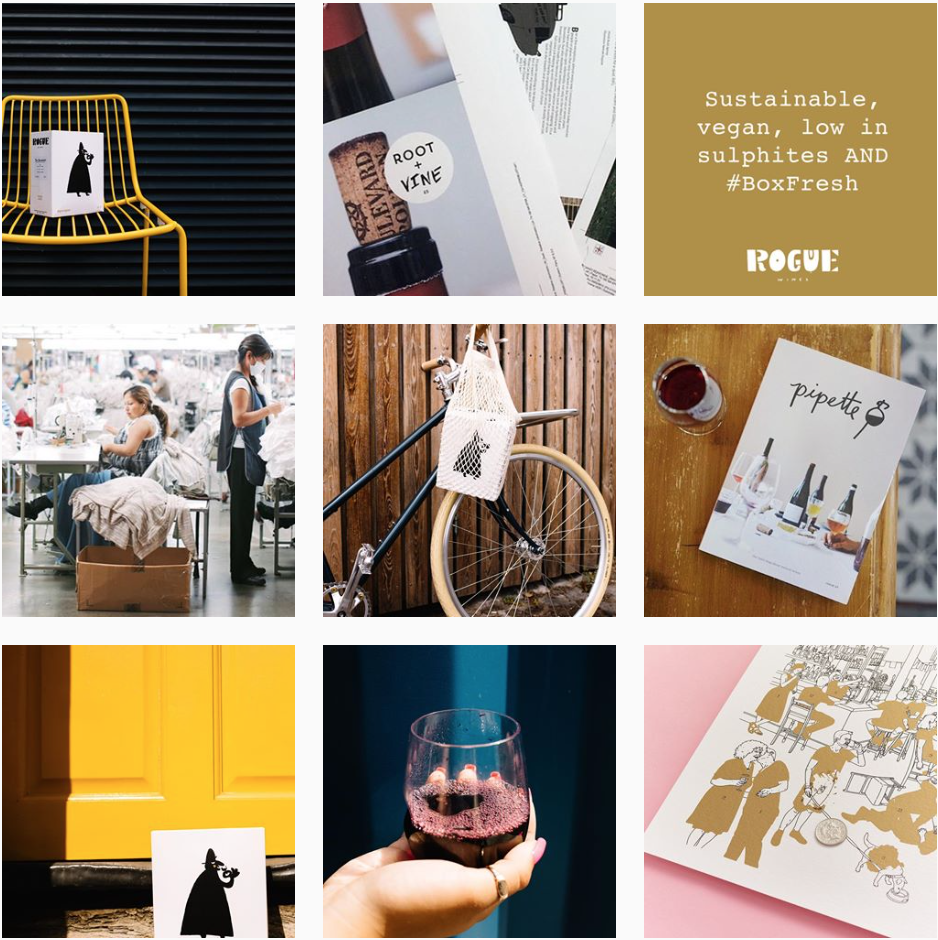 Rogue Wine's uses imagery that is colourful and has high contrast. As well as sharing images of their wine, they share other brands and ideas that their audience are passionate about on the feed.  @roguewines