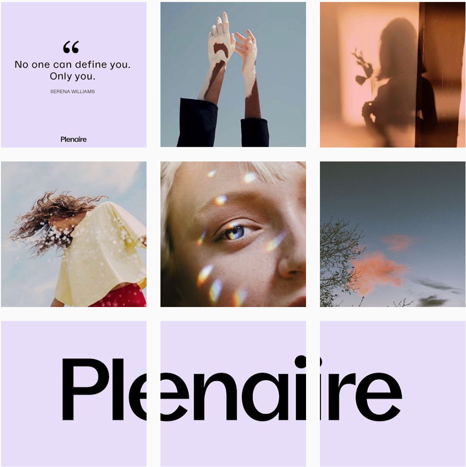 Plenaire's visual identity is nostalgic, dreamy and positive. Their brand colour is repeated throughout with graphics, bringing the imagery together.  @plenaire_official