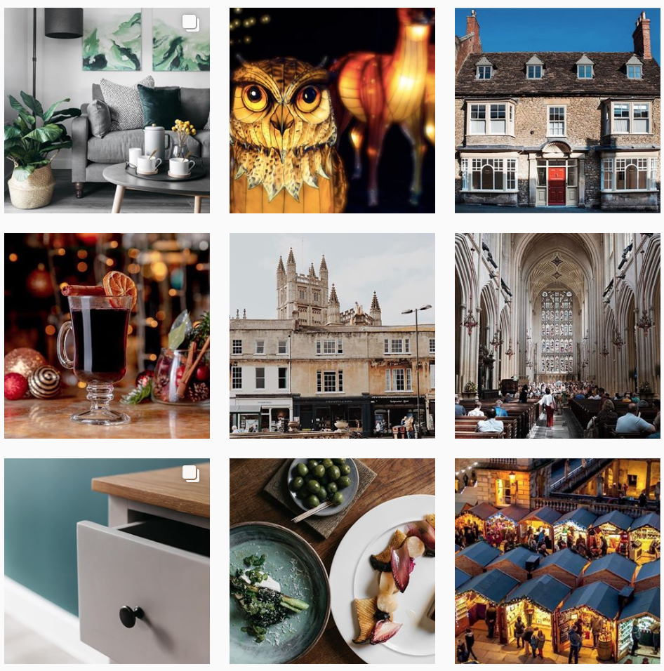 Spring Wharf's Instagram uses lots of earthy colours to represent It's connection to nature, as the development is located on the riverside. It has a clear representation of Bath so people know where they are based as soon as they visit the profile.  @springwharf