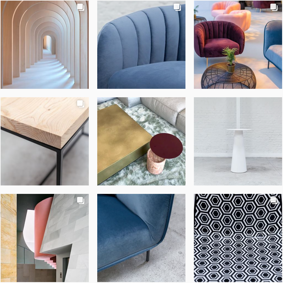 Juno Hire's feed shows their keen eye for modern, minimalistic design. It highlights their furniture throughout, to ensure people know what they offer.  @juno_hire