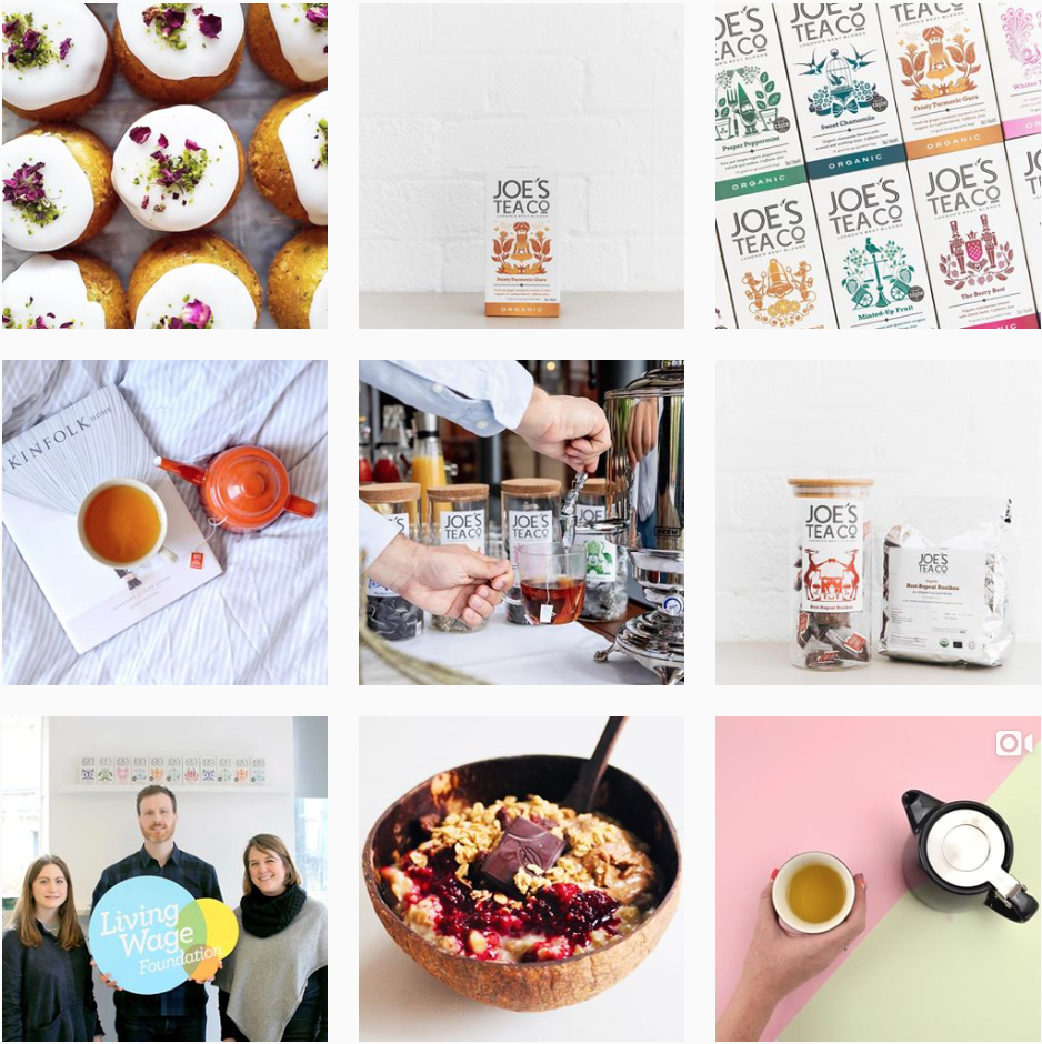 Joe's Tea Co.'s Instagram feed matches their packaging… Bright fun colours with a white background to tie everything together. They constantly post photos of their tea, amongst other images their audience will be interested in.  @joesteaco