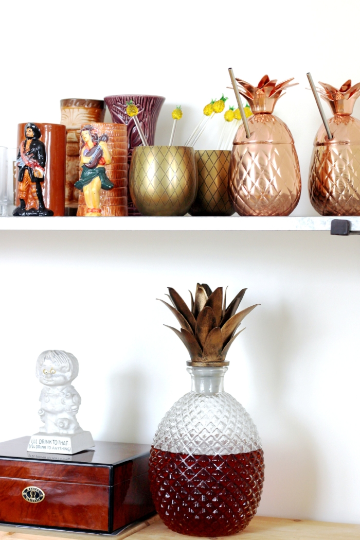 The other highlight of the wine nook is the tiki barware. Pineapples, pirates and hula dancers make an appearance and give some texture and contrast to the nook.