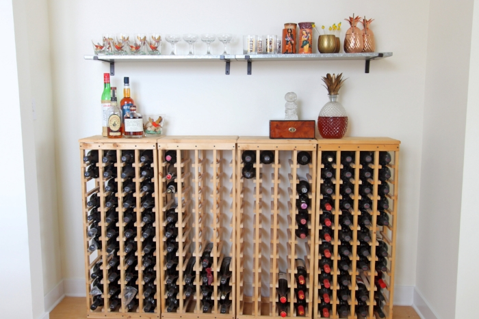 The other thing to know about the client is that he is an avid wine drinker, and this nook provided a great home for his wine racks. Also, this is not the entire wine collection, not even close; a warehouse is housing the majority of it across the country.