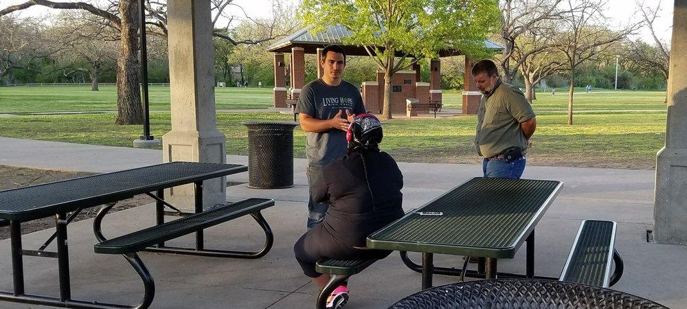 Sharing the Gospel in Rose Park in Mansfield.