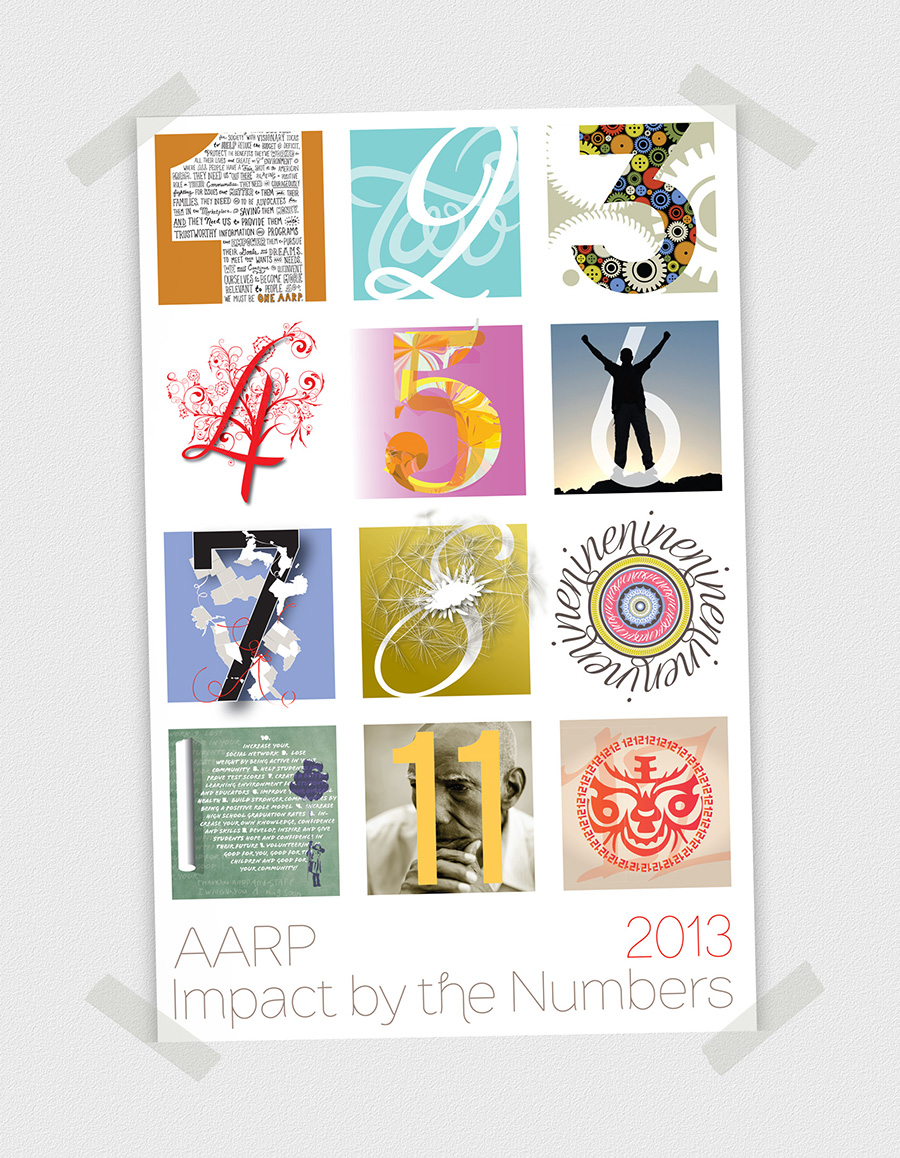 Calendar Cover - Each member of the brand design staff created 3 pages for the company calendar. I was picked to design the cover for Impact by the Numbers. I choose elements from each design and combined them with numbers to give people a visual idea of the content. This calendar won an In-house Design Award from Graphic Design USA.