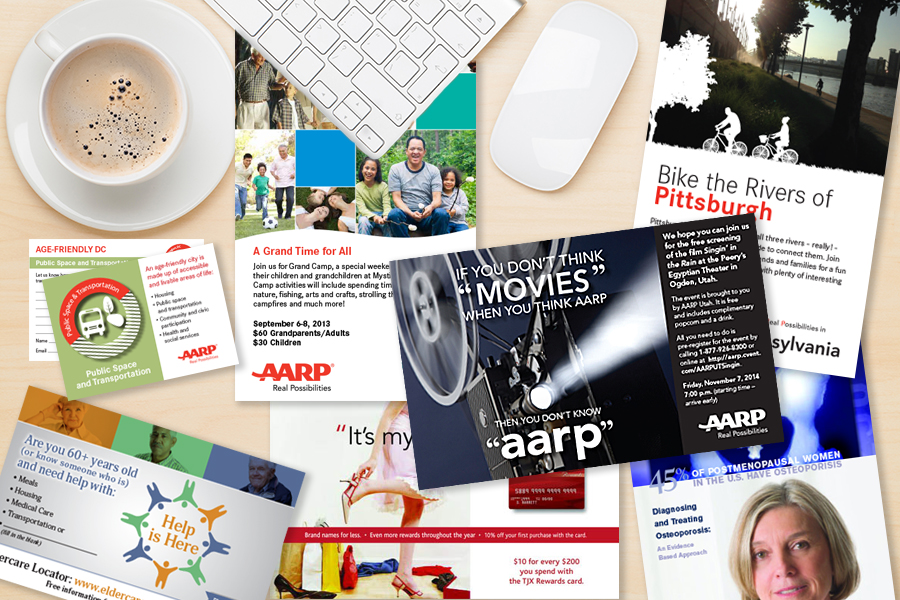 AARP Direct Mail - The brand services department was very fast paced—we designed direct mail and other deliverables for all 50 states + Puerto Rico. I tried to always include  visuals that were specific to each state and worked closely with the state clients to make sure they were happy with the end result and attendance at their event.