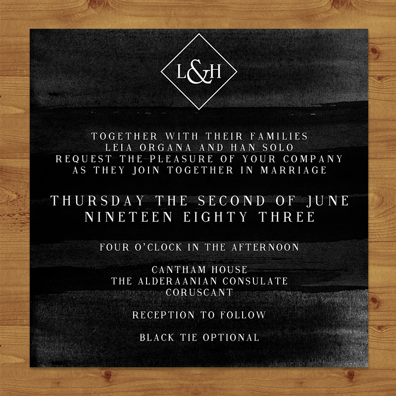 Black and White Wedding Invitations Hawthorne and Ivory